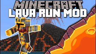 Minecraft LAVA RUN MOD / RUN FROM THE VOLCANO LAVA!! Minecraft