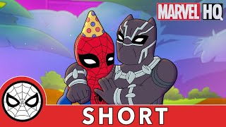 Birthday Fun w/ Spidey, Black Panther & Shuri! | Marvel Super Hero Adventures | Obstacle, Of Course