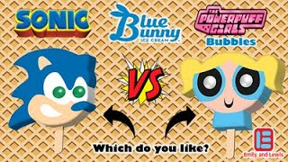 Sonic The Hedgehog | Power Puff Girls Bubbles | Ice Cream Bar With Bubble Gum Eyes