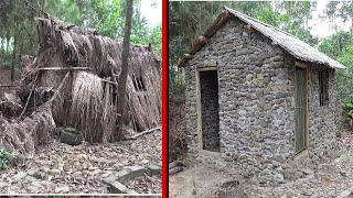 Primitive Life:Build a new house from stone! full video!