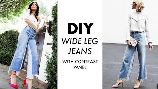 DIY: How To Make WIDE LEG Jeans (w/ CONTRAST Panel) -By Orly Shani