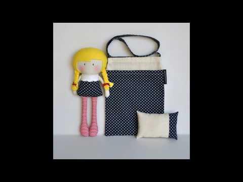 Bolso de tela con muñecas para niña