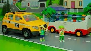 Машинки Playmobil у видео для детей - Опасность на дороге.