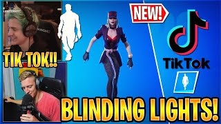 """Streamers React to *NEW* """"BLINDING LIGHTS"""" Emote in Fortnite (The Weeknd)"""