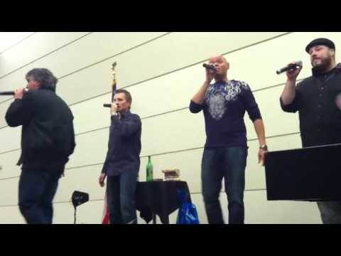 Face acapella group sings don't stop believing (Journey)