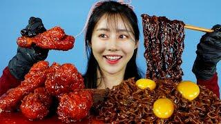 MUKBANG ASMR   Hot🔥! Spicy Fire Chicken+Black Bean Noodles Eat Korean Eatingshow 아라 Ara Eatingsound