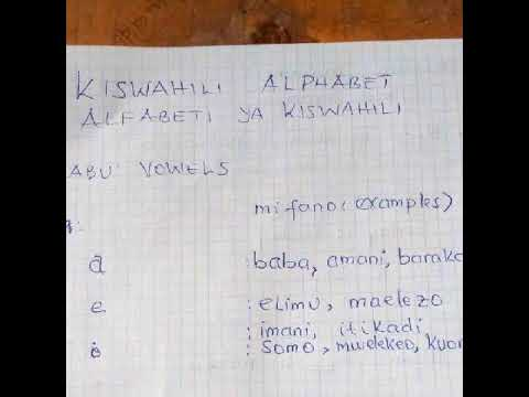 Learn Swahili online: Kiswahili for beginners: Alfabeti ya kiswahili: vowels (irabu).