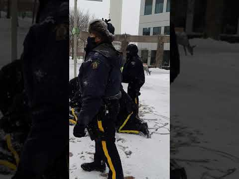 Peaceful Protester Tackled by 4 Police
