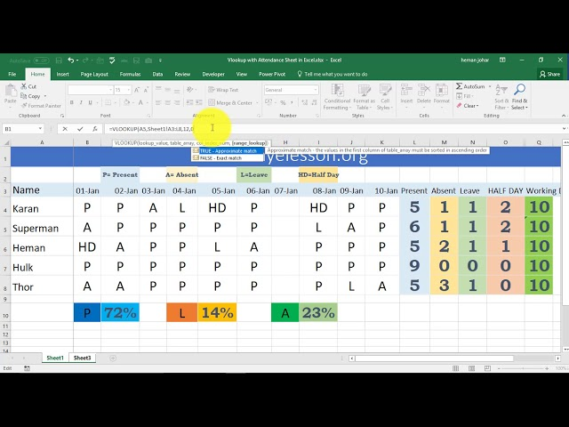 Vlookup in Attendance Sheet in Excel Hindi ∼ MyElesson.org