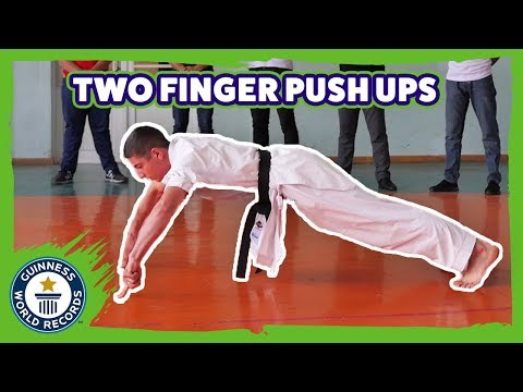 World Record for 2 Finger Push Ups