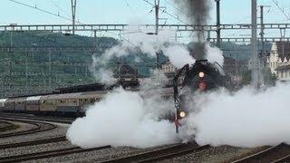 preview picture of video 'Dampflok 141.R.1244 Mikado mit Sonderzug in Brugg SNCF Mai 2012'