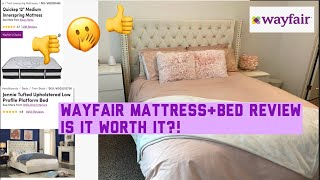 "WAYFAIR REVIEW |JENNIE TUFTED UPHOLSTERED LOW PLATFORM BED & QUICKEP 12"" MEDIUM INNERSPRING MATTRESS"