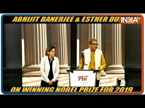 Abhijit Banerjee and Esther Duflo after jointly receiving the 2019 Nobel Prize in Economics