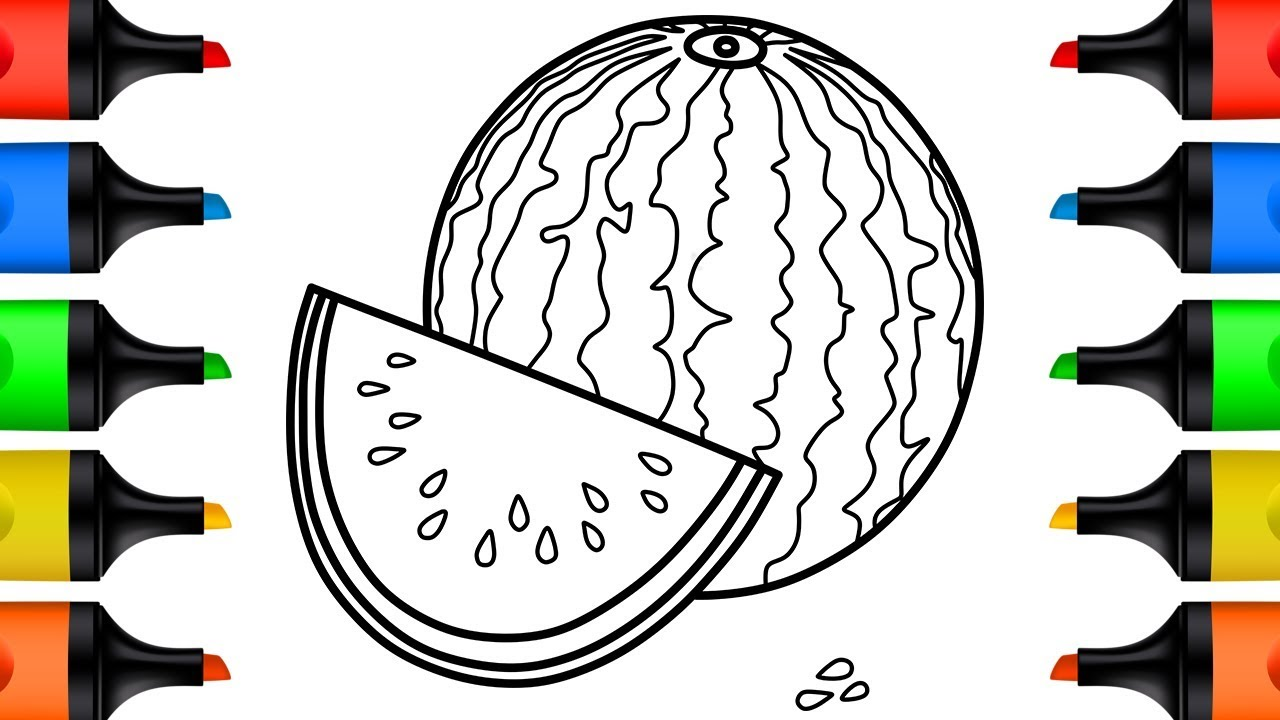 How to Draw Watermelon Step by Step Drawing and Coloring Pages for Kids and Toddlers