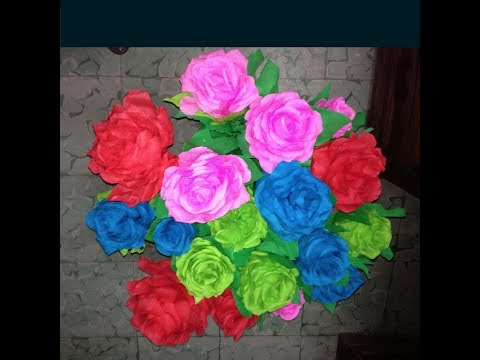 Como se hacen la flores de papel crepe que lleva yahoo - Como se hacen rosas de papel ...