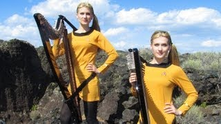 STAR TREK Theme (TOS at very end) Harp Twins - Camille and Kennerly