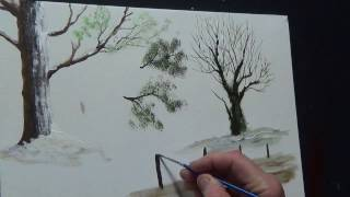 preview picture of video 'Beginners Acrylic Painting Tutorial- Christmas Scene Part 2'