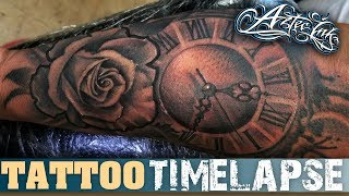 Tattoo TimeLapse | Rose And Old Watch | Xtasys