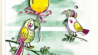 preview picture of video '❤ Grussgezwitscher ❤ Aquarell ❤ Card ❤ Stampin up ❤ Geburtstagskarte ❤'