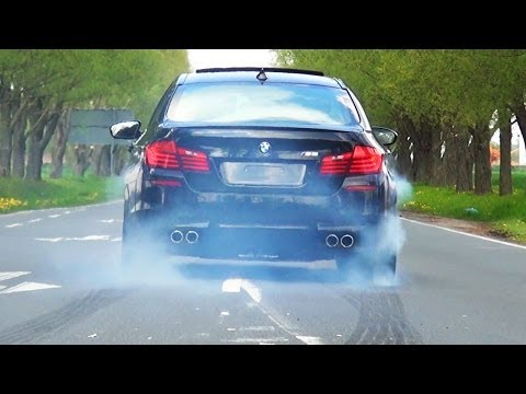 BMW M5 F10 Sound V8 Biturbo Acceleration Tire Smoke Kickdown exhaust Beschleunigung Full Throttle