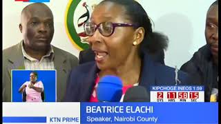 Beatrice Elachi returns to City Hall escorted by 20 ODM ward reps