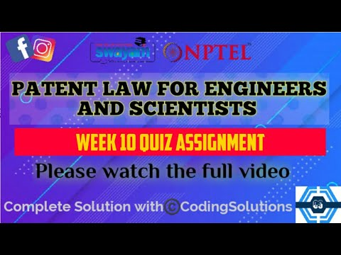 Patent Law For Engineers And Scientists | Week 10 Answers ...