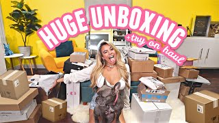 Get comfy... HUGE 30 MINUTE UNBOXING! Try on haul, gymshark, whitefox boutique, makeup and random