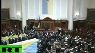 Fight In The Ukrainian Parliament - throwing eggs and tomatoes
