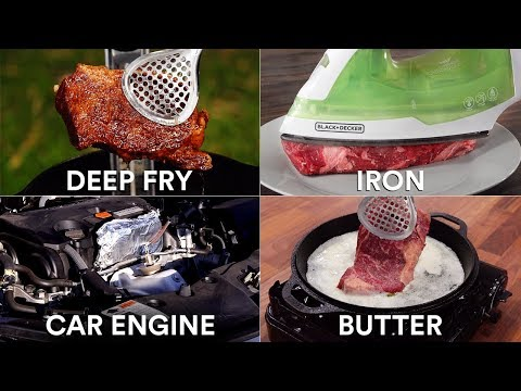 Every way to COOK A STEAK! (25 Methods) | GugaFoods