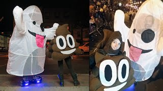 Hoverboard Ghost & Pile Of Poo Emoji Costumes At NYC Halloween Parade // Becky Stern Vlog