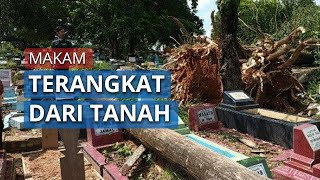 Beberapa Makam Terangkat dari Tanah di TPU Kamboja Palembang, Sumatera Selatan
