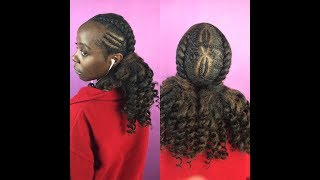 Two Feed In Braids With Curly Ponytail On 4c Hair Marley Hair