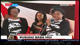 Mzee Moi's granddaughter, Laila Denise Ibrahim shares a poem with mourners