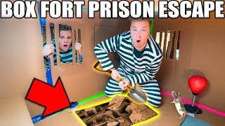 24 HOUR BOX FORT PRISON ESCAPE ROOM!! 📦🚔 Digging A Secret UNDERGROUND Tunnel