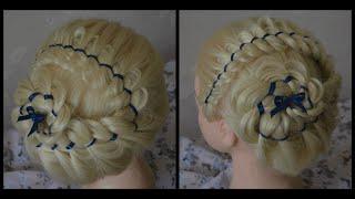 Прическа с лентой. Плетение косы из 4 прядей.