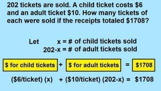 Algebra - Word Problems: With Movie Tickets