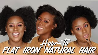 How-To Flat Iron Type 4 Natural Hair at Home By Yourself from Kinky to Straight without Damage