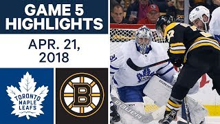 NHL Highlights | Maple Leafs vs. Bruins, Game 5 - Apr. 21, 2018