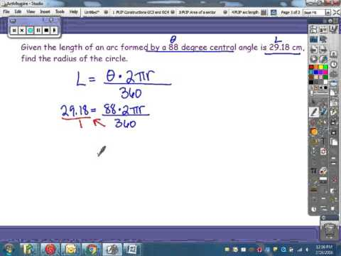 Finding the radius given the arc length and central angle