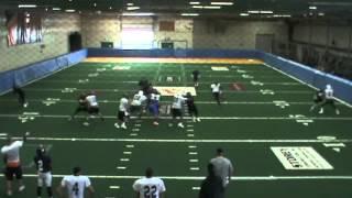 Fullback Jeff Logan AFL practice (pass blking)
