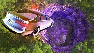 BeamNG drive - Car Falls into Deep Hole in Earth (Cave Diving)