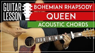 Bohemian Rhapsody Acoustic Chords Guitar Tutorial - Queen Guitar Lesson 🎸 |TABS + Easy Strumming|