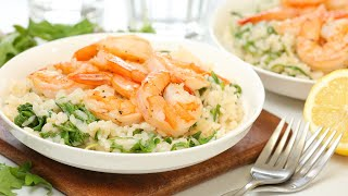 Lemon Shrimp Risotto | Healthy + Quick + Easy Dinner Recipe by The Domestic Geek