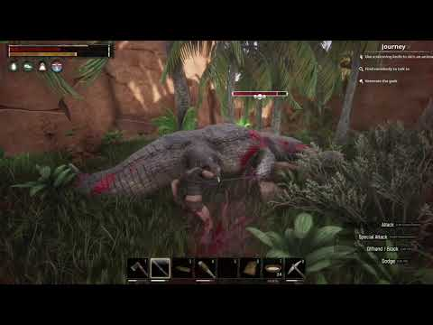 Fighting the Alligator Boss near Base! (Conan Exiles Gameplay) #8