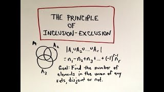 In this video, I start discussing the principle of inclusion exclusion used in discrete mathematics.  I start with a simple example using two sets and then proceed to derive the formula for 3 sets.   In the next video I will prove the formula and then go on to more examples.  This video is geared towards those in higher mathematics so it is a bit more technical than what some may want!