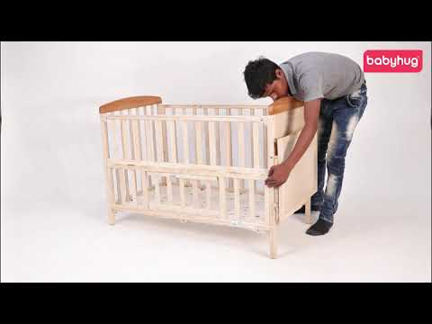 Babyhug Kelly Baby Wooden Cot With Bassinet