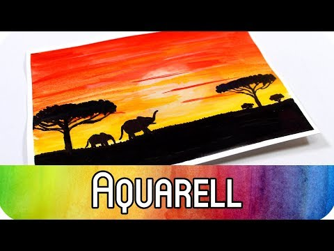 Aquarell malen für Anfänger: African Sunset | Art Journal Card