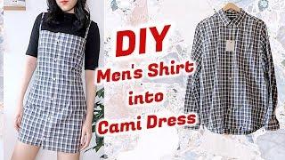 Refashion DIY Mens Shirt Into Cami Dress / DIYファッション + 洋服 / 古着リメイク / 옷리폼 / THRIFT FLIPㅣmadebyaya