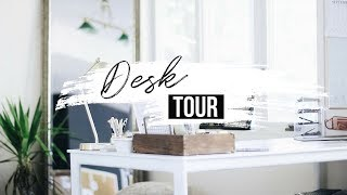 DIY Desk Decor + Organization Hacks | DESK + OFFICE TOUR | FREE  Wall Art
