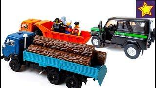 Машинки Камазы, Уаз История про нарушителей в лесу Toys video for kids